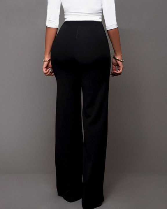 Solid Button Front Flare Pants gallery 5