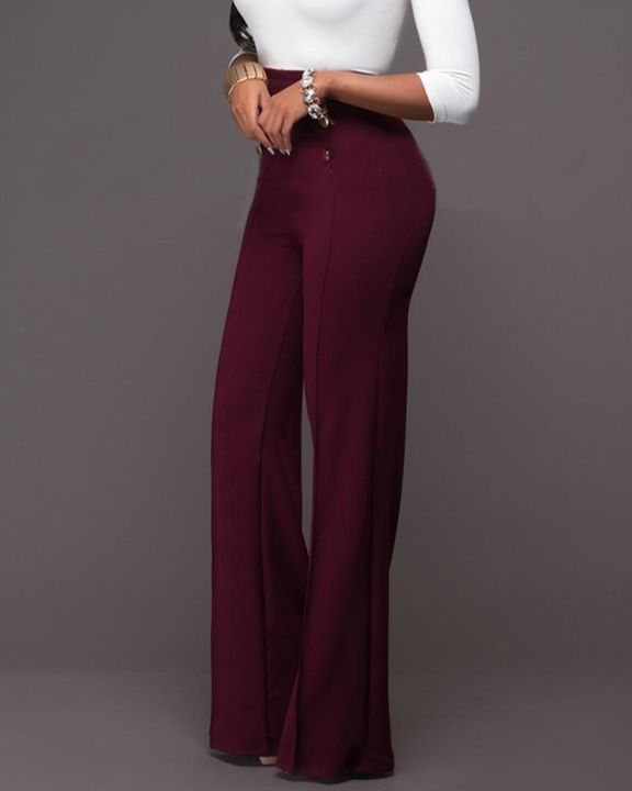 Solid Button Front Flare Pants gallery 7