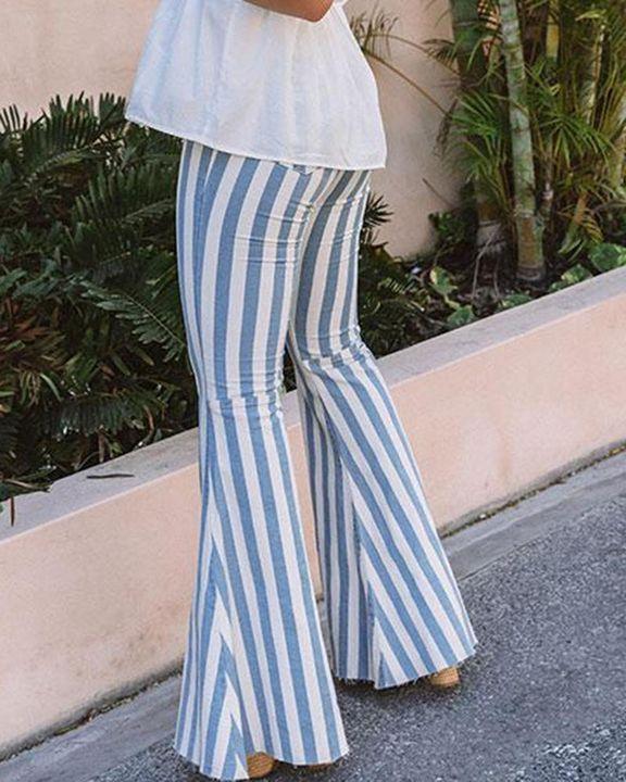 High Waist Stripe Print Flare Pants gallery 3