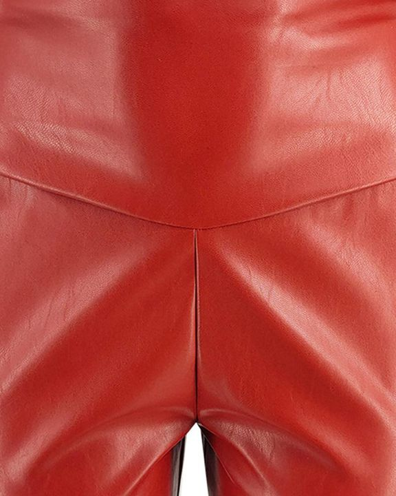 Solid Ruched Wide Waistband PU Pants gallery 7
