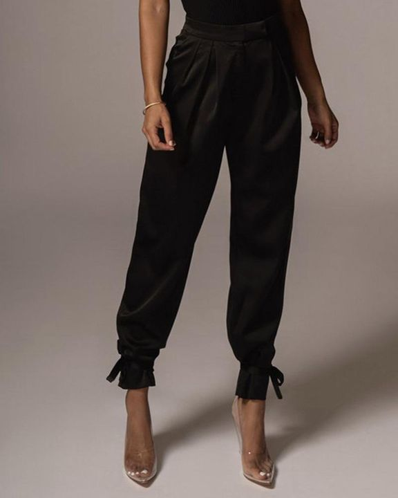 Solid Ankle Tie Pleated High Waist Pants gallery 3