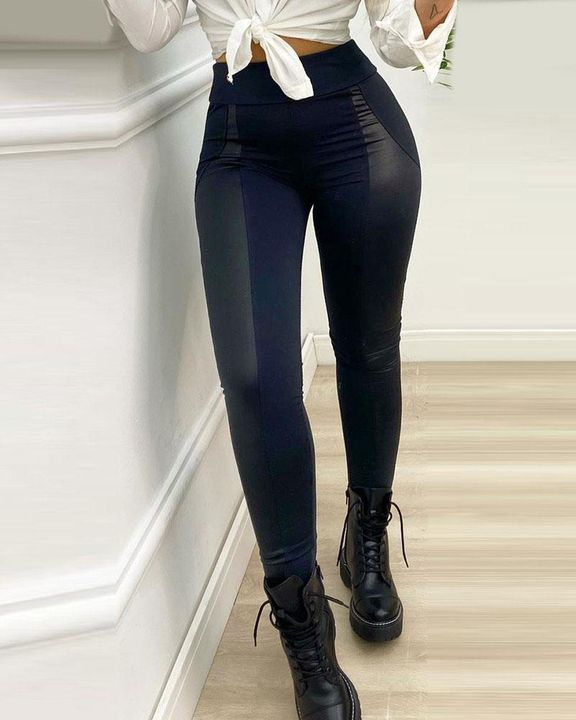 High Waist PU Leather Patch Skinny Pants gallery 1
