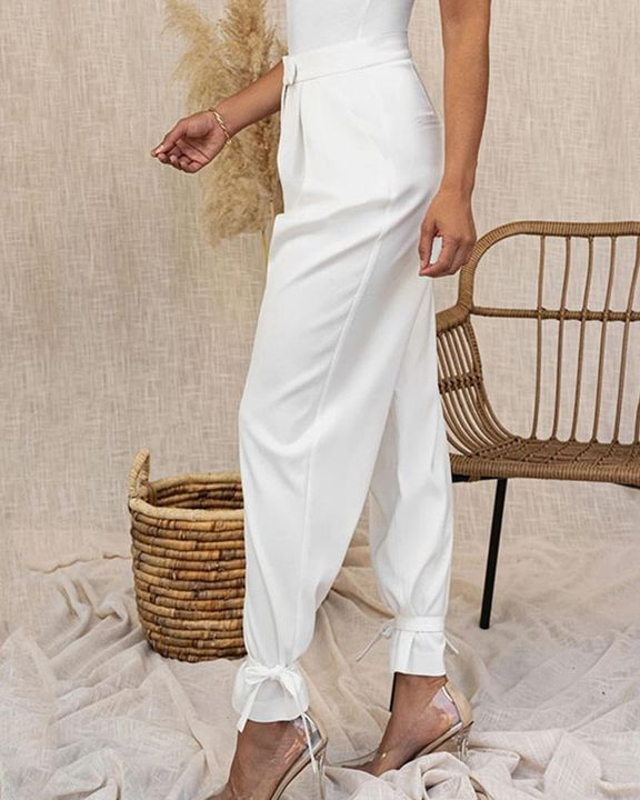 Solid Ankle Tie Pleated High Waist Pants gallery 16