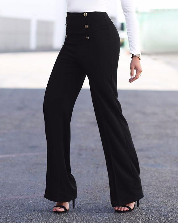 Solid Button Front Flare Pants gallery 4
