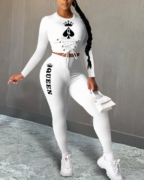 Poker & Letter Print Lace Up Top & Pants Set gallery 1