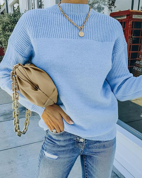 Solid Rib-Knit Round Neck Sweater gallery 5