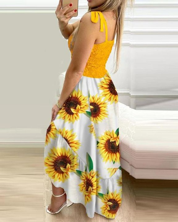 Floral Print High Low Hem Smocked Maxi Dress gallery 5