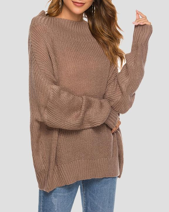 Chunky Knit Boat Neck Batwing Sleeve Sweater gallery 4