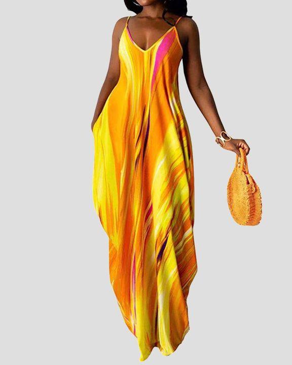 Allover Print Draped Asymmetrical Hem Cami Maxi Dress gallery 1