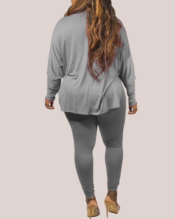 Solid Split Hem Drop Shoulder Top & Pants Set gallery 8