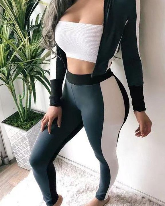 Colorblock Zip Up Jacket & Pants Set Without Camisole gallery 2