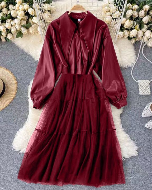 Solid PU Leather Sheer Mesh Pleated Coat gallery 7