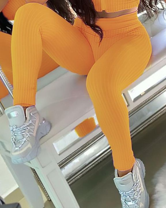 Ribbed Knit Butt Lifting High Waist Sports Leggings gallery 8