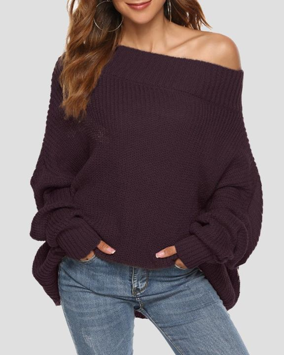 Chunky Knit Boat Neck Batwing Sleeve Sweater gallery 2
