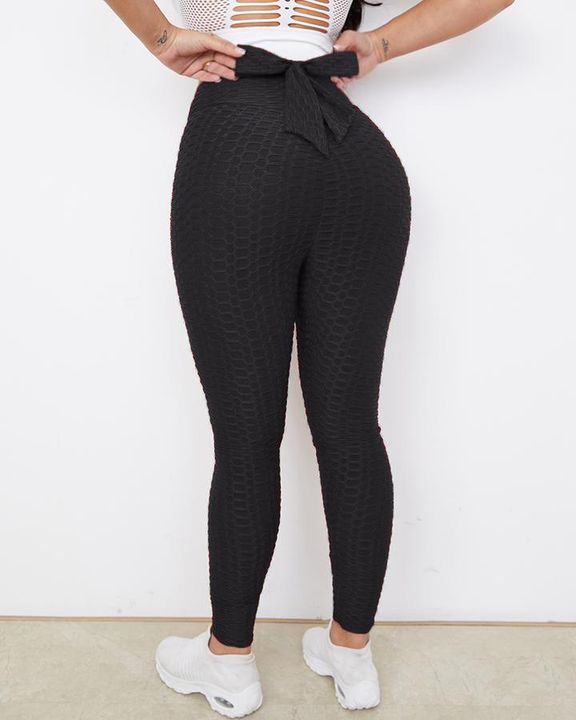 Bow Tie Back Textured Ruched Sports Leggings gallery 9