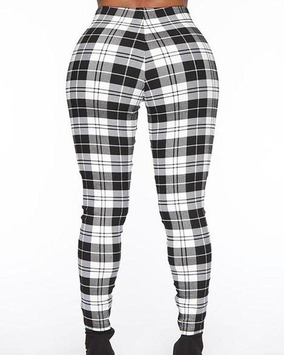 Plaid Print Zip-Pocket Side High Waist Pants gallery 7