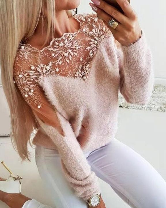 Floral Lace Beaded Decor Frill Trim Sweater gallery 2