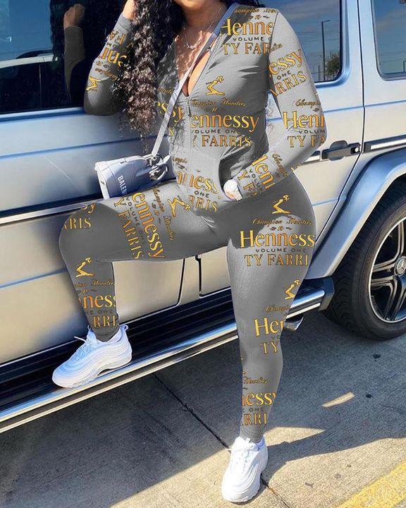 Letter Print Zip Up Pocket Detail Jacket & Pants Set gallery 4