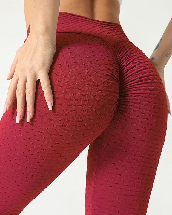 Solid Textured Scrunch Butt Absorbs Sweat Hip Lift Sports Leggings gallery 2