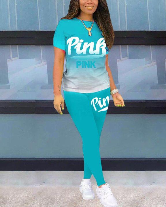 Letter Print Ombre Round Neck Top & Pants Set gallery 15