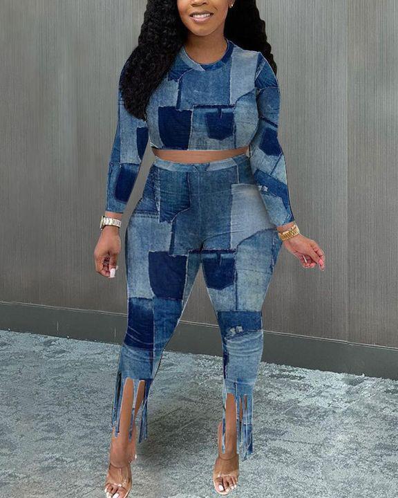 Denim Look Spliced Fringe Trim Long Sleeve Crop Top & Shorts Set gallery 2