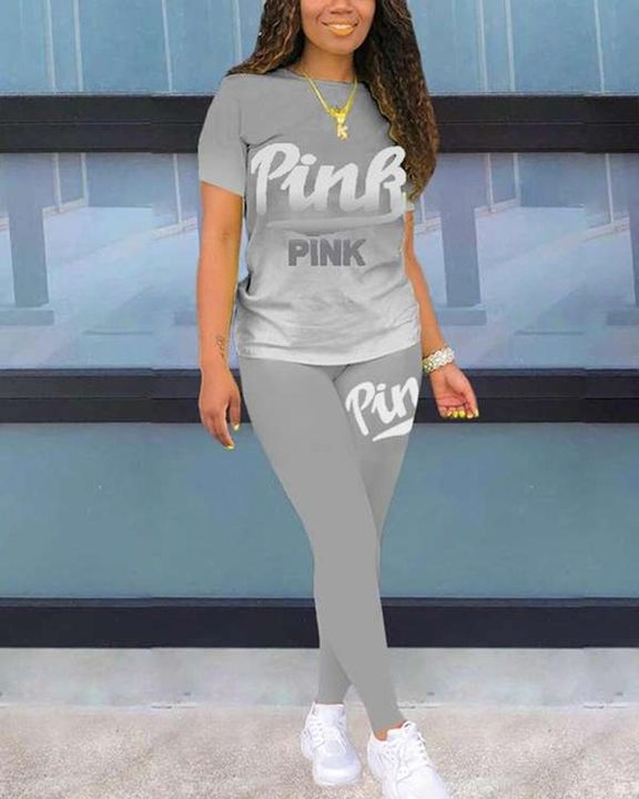 Letter Print Ombre Round Neck Top & Pants Set gallery 4