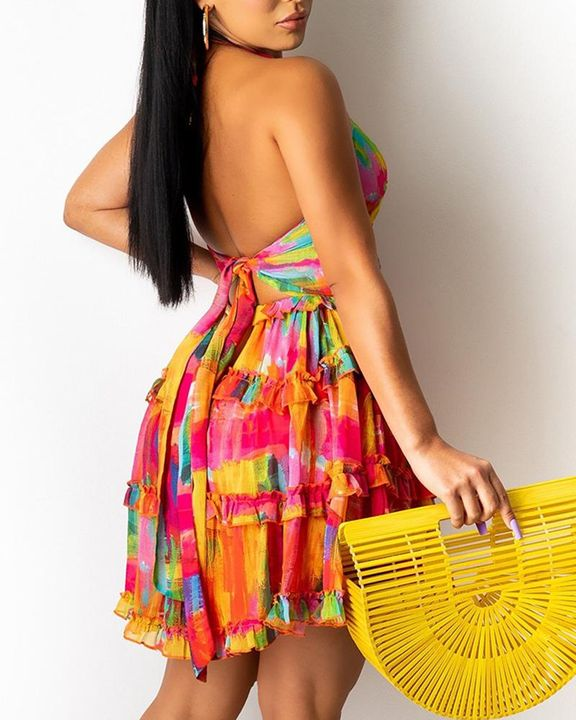 Allover Print Ring Linked Frill Trim Tie Back Mini Dress gallery 3