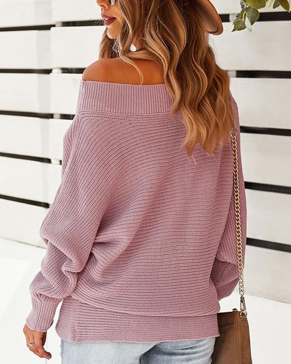 Solid Ribbed Knit Boat Neck Sweater gallery 8