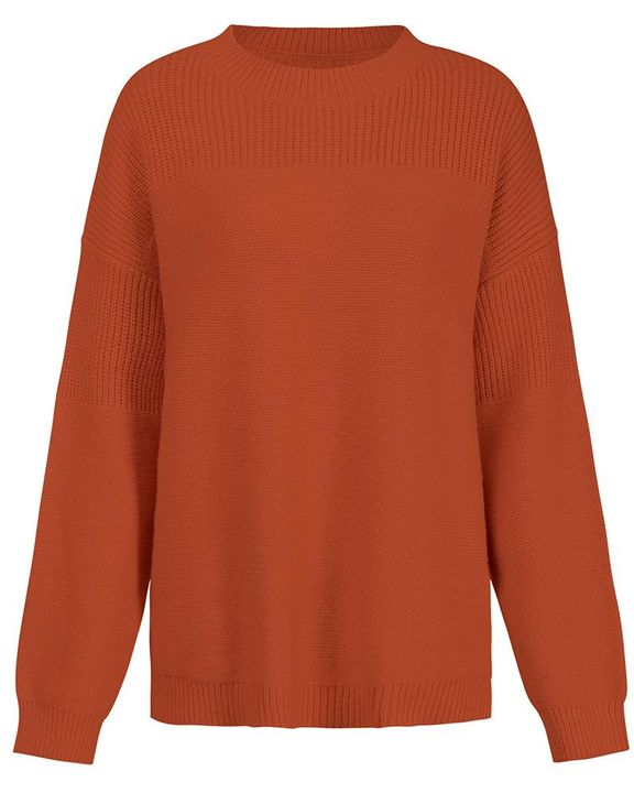 Solid Rib-Knit Round Neck Sweater gallery 8