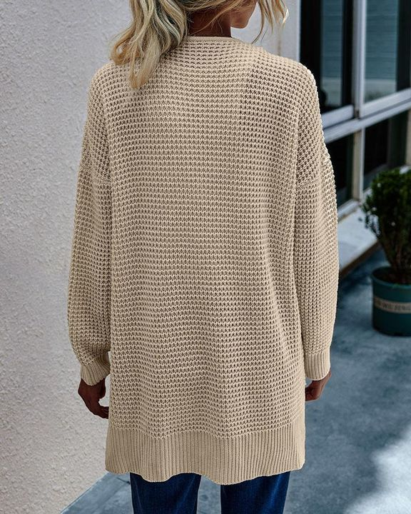 Solid Waffle Dual Pocket Front Cardigan gallery 7
