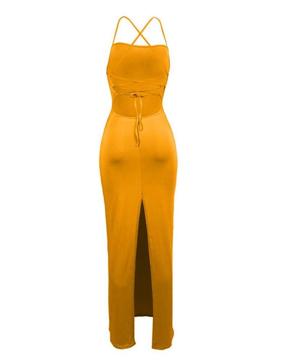 Split Thigh Criss Cross Lace Up Maxi Dress gallery 9
