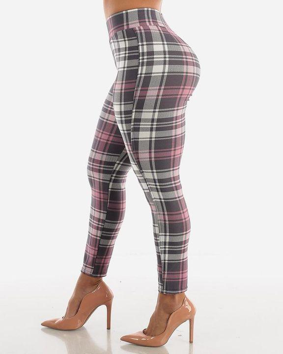 Plaid Print Wrap Waist Skinny Pants gallery 10