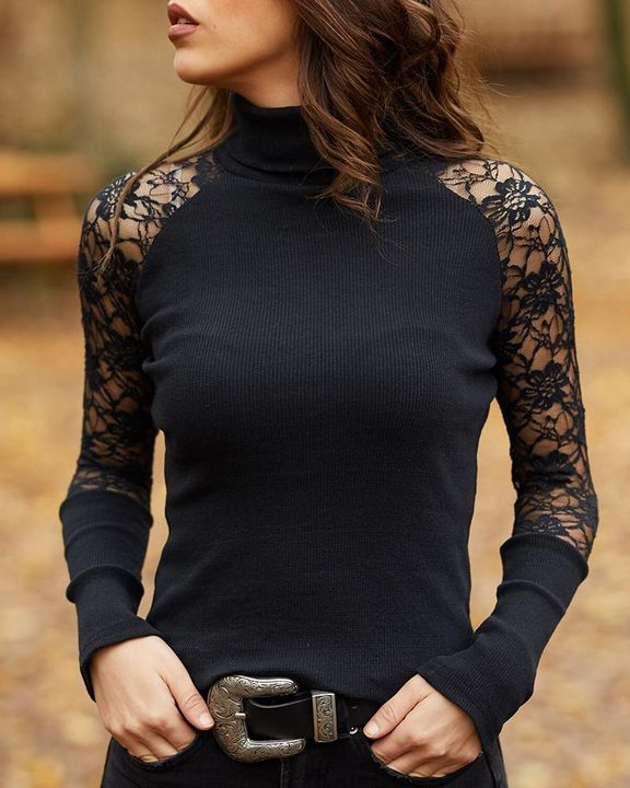 Solid Floral Lace Rib-Knit High Neck Sweater gallery 1