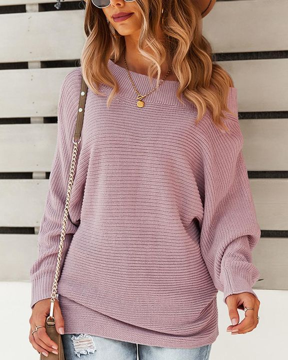 Solid Ribbed Knit Boat Neck Sweater gallery 3
