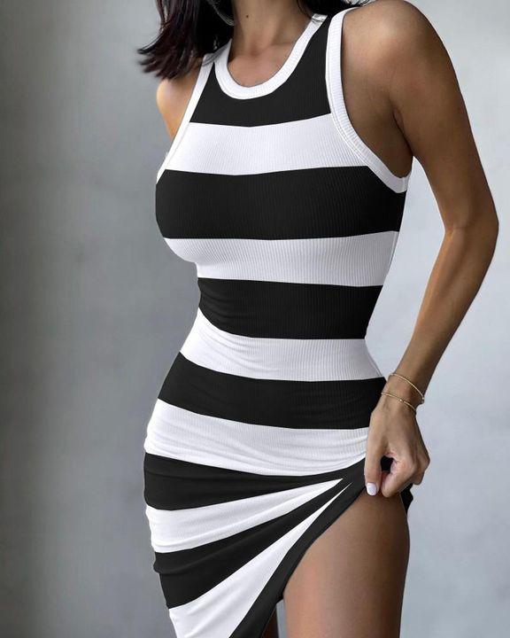 Striped Print Straps Mini Dress gallery 1