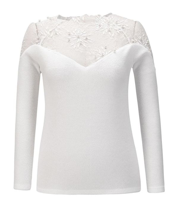 Floral Lace Beaded Decor Frill Trim Sweater gallery 3