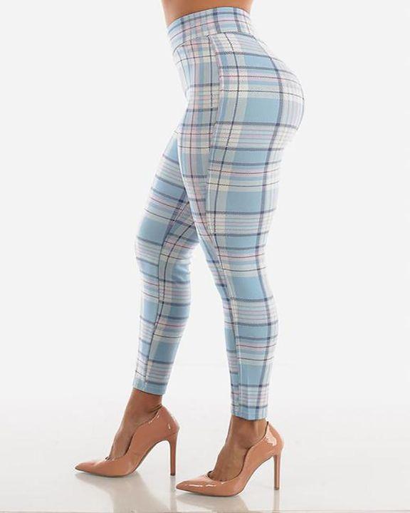 Plaid Print Wrap Waist Skinny Pants gallery 5