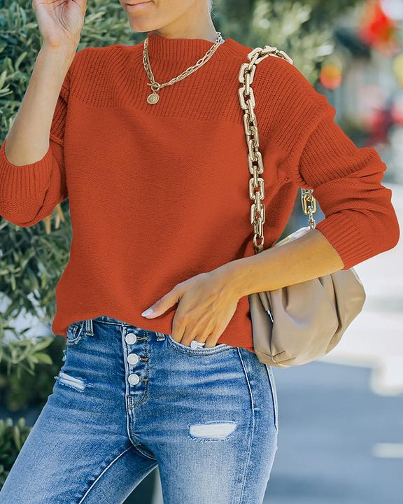Solid Rib-Knit Round Neck Sweater gallery 2