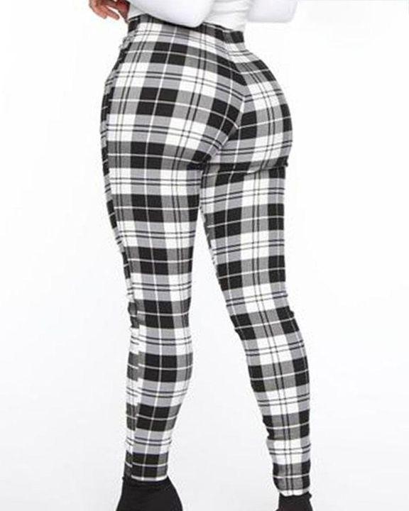 Plaid Print Zip-Pocket Side High Waist Pants gallery 5