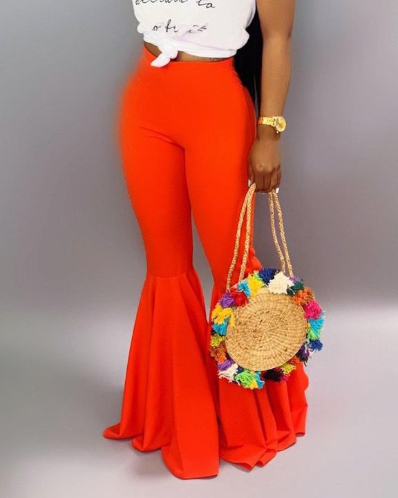 Solid Mid Waist Flare Pants gallery 6