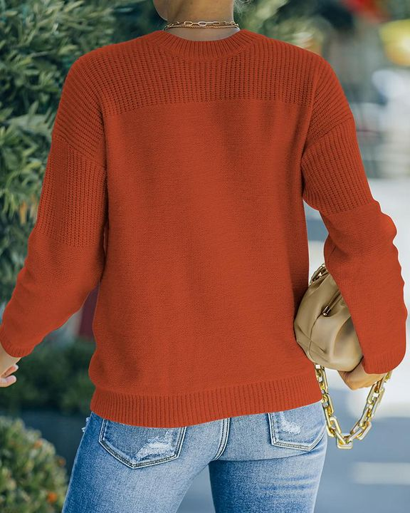 Solid Rib-Knit Round Neck Sweater gallery 6