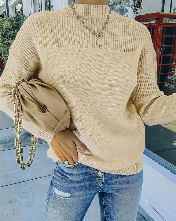 Solid Rib-Knit Round Neck Sweater gallery 13