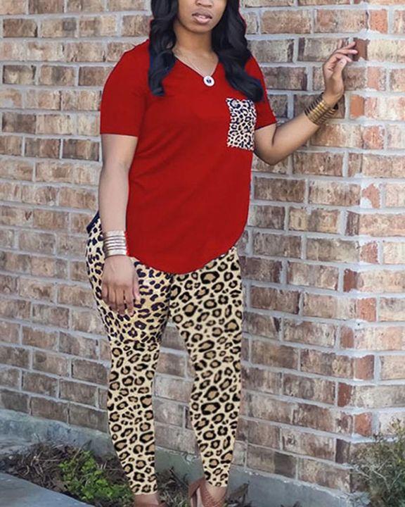 Leopard Print Patch Pocket Tee & Skinny Pants Set gallery 3