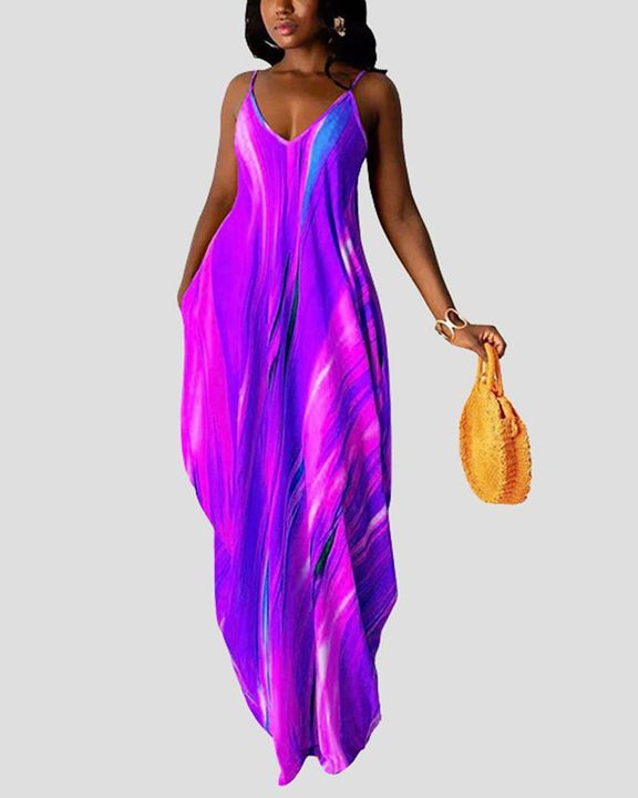 Allover Print Draped Asymmetrical Hem Cami Maxi Dress gallery 2