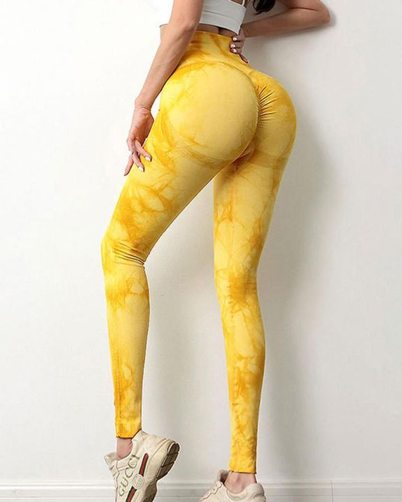 Tie Dye Scrunch Butt Hip Lifting Breathable Sports Leggings gallery 3