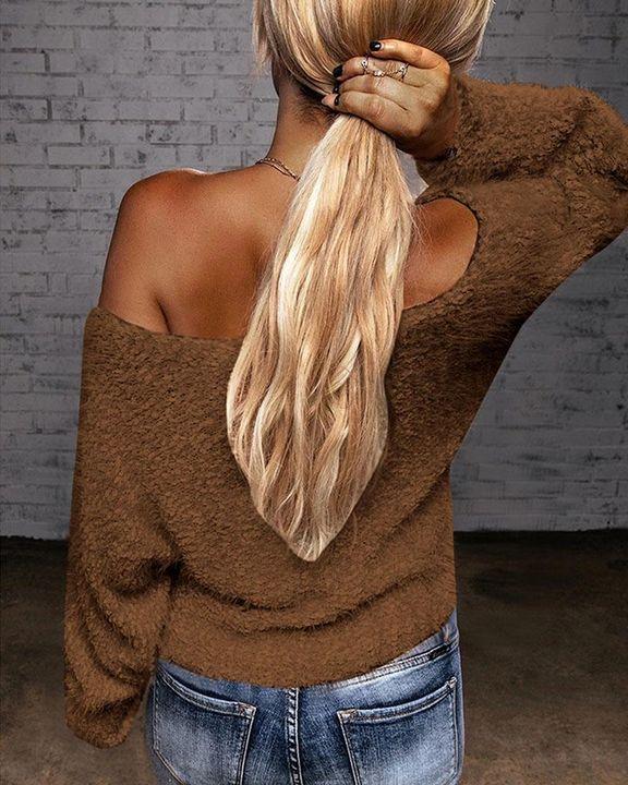 Popcorn Knit Off Shoulder Drop Shoulder Sweater gallery 8