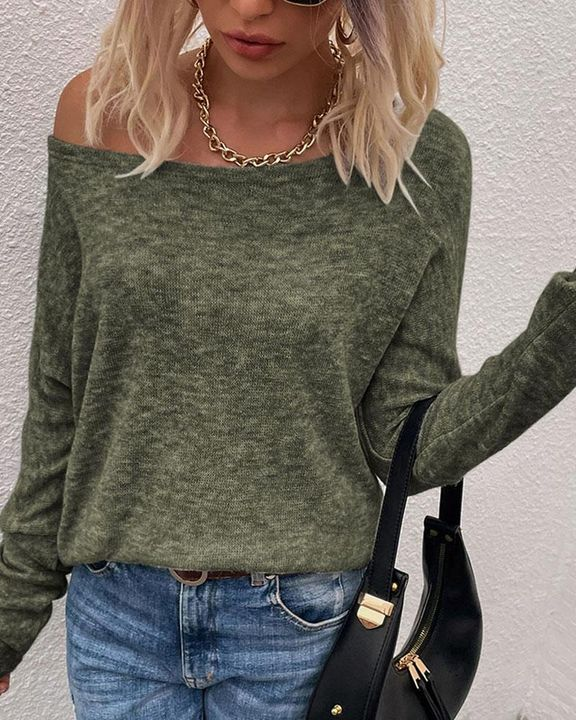 Solid Long Sleeve Boat Neck Top gallery 1