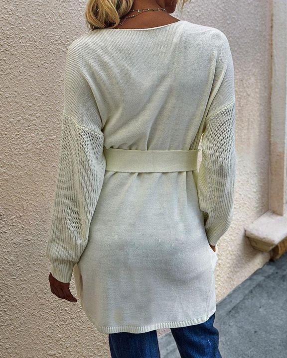 Slant Pocket Belted Decor Open Front Cardigan gallery 9