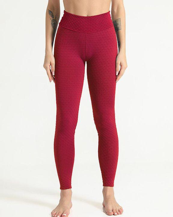 Solid Textured Scrunch Butt Absorbs Sweat Hip Lift Sports Leggings gallery 9