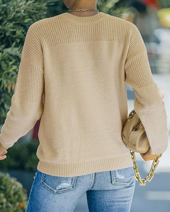 Solid Rib-Knit Round Neck Sweater gallery 12